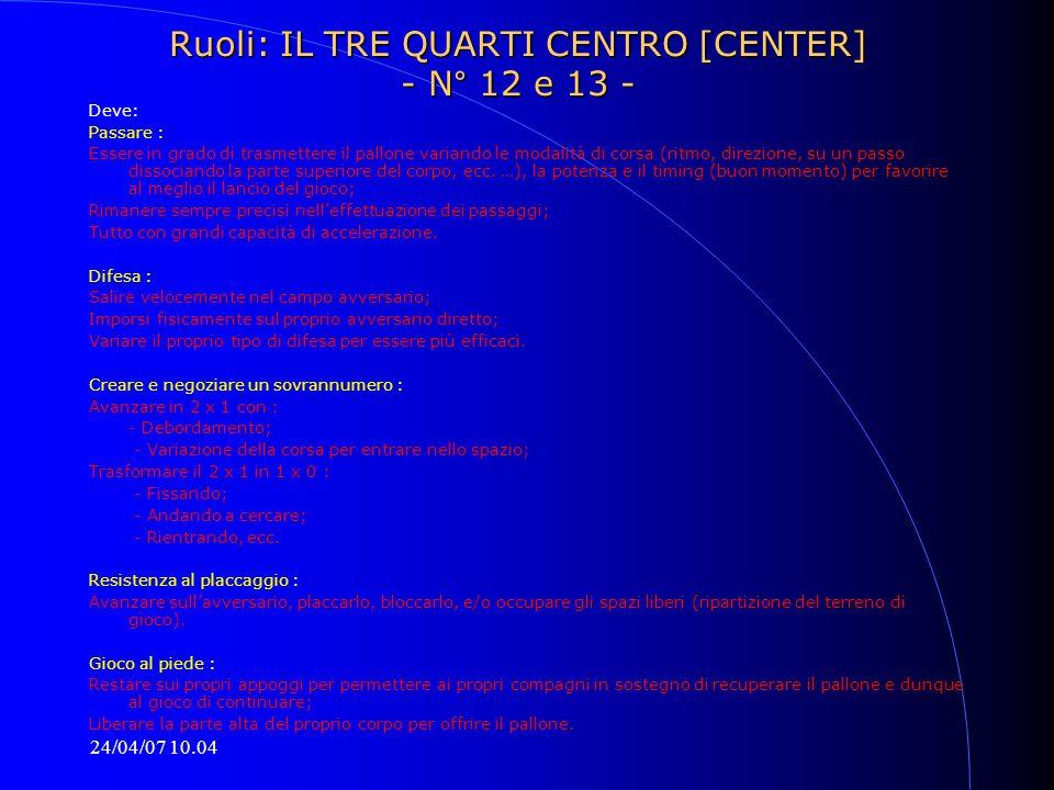 Ruoli: IL TRE QUARTI CENTRO [CENTER] - N° 12 e 13 -